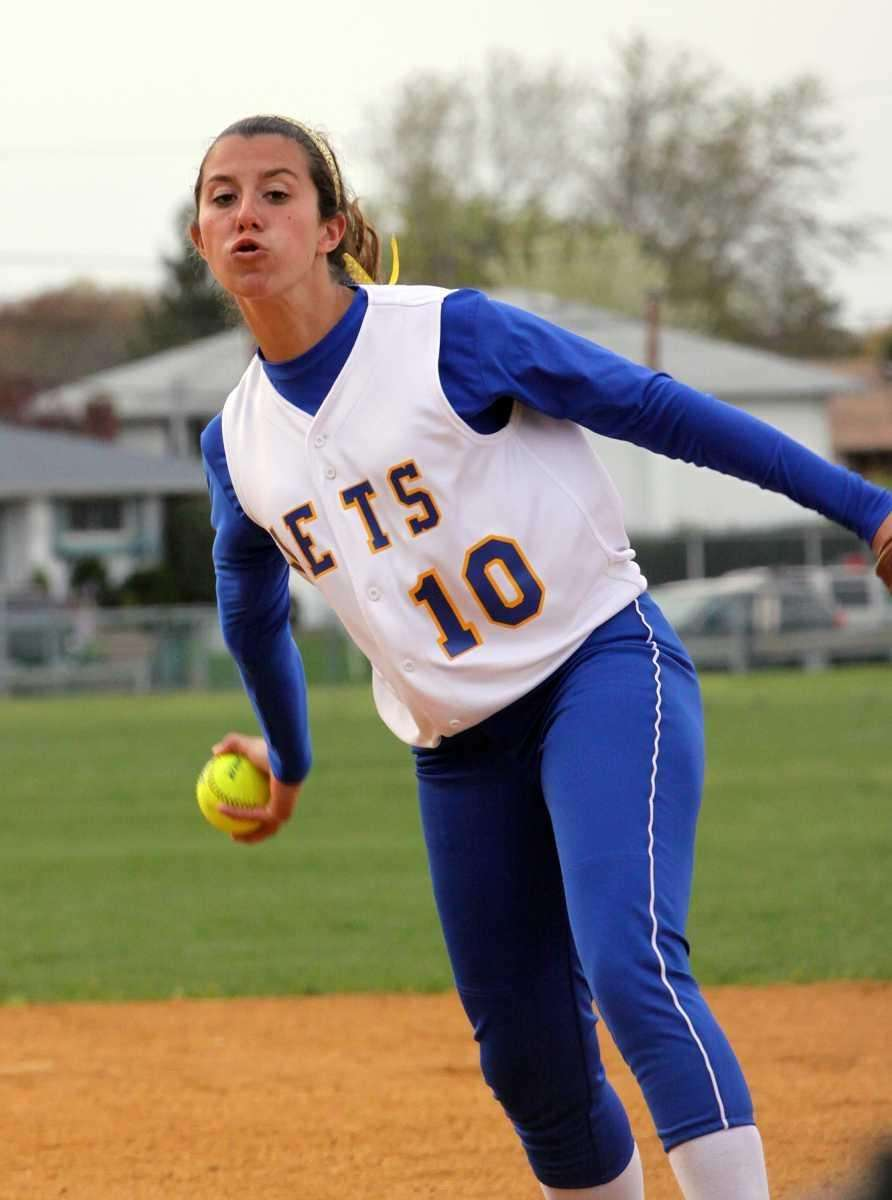 East Meadow's Amanda Carlin delivers to the plate