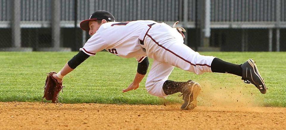 Patchogue-Medford second baseman Brian Cioffi tries to grab