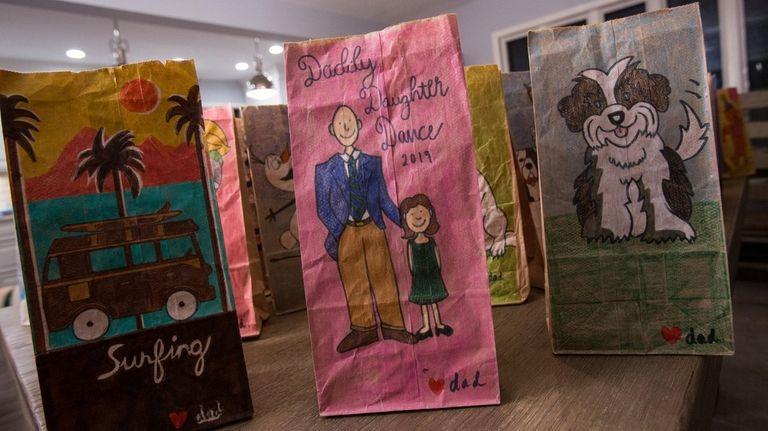 Patrick Murray's paper bag illustrations sometimes mark family
