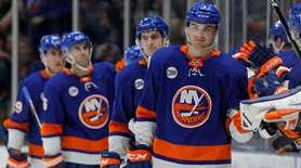 Adam Pelech #3 of the New York Islanders