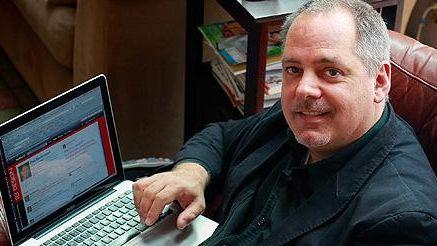 Paul Biedermann of Huntington displays his Twitter page