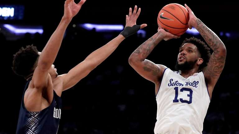 Seton Hall guard Myles Powell  shoots against