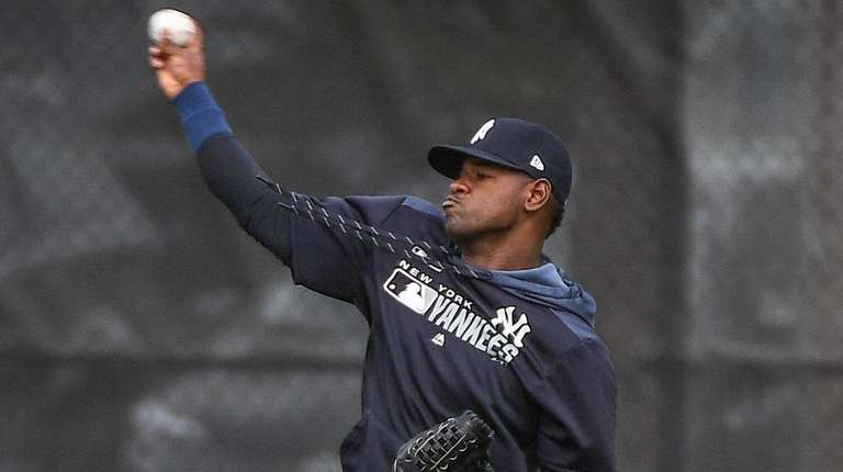 Yankees pitcher Luis Severino works out during spring