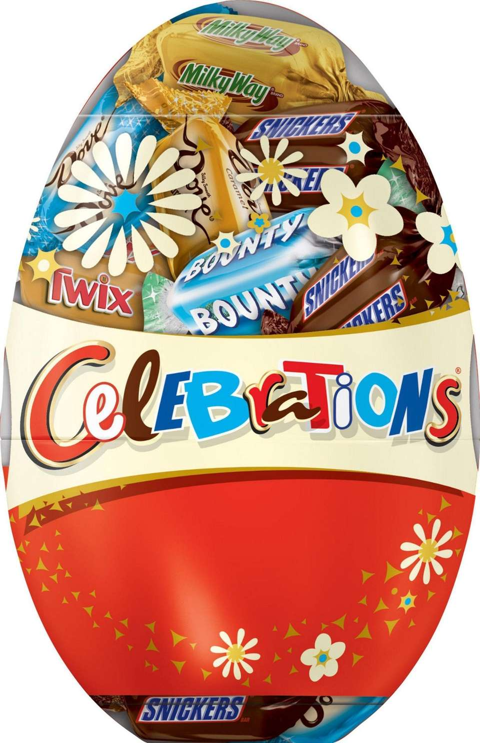 This surprise candy egg comes with mini Snickers,