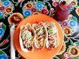Three soft shell tacos, a picadillo, a flank