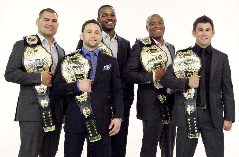 From left. UFC champions Cain Velasquez (heayweight), Frankie