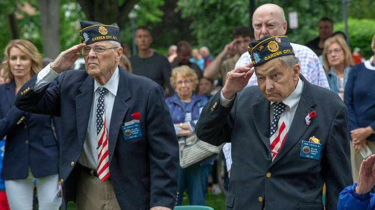From left, Veterans Joseph Frey and Frank Nedelka,
