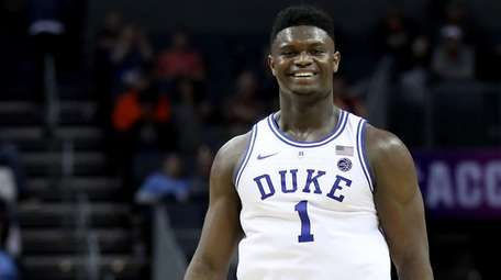 Zion Williamson of the Duke Blue Devils reacts