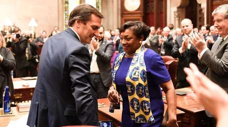 Senate Deputy Majority Leader Michael Gianaris (D-Astoria), left,
