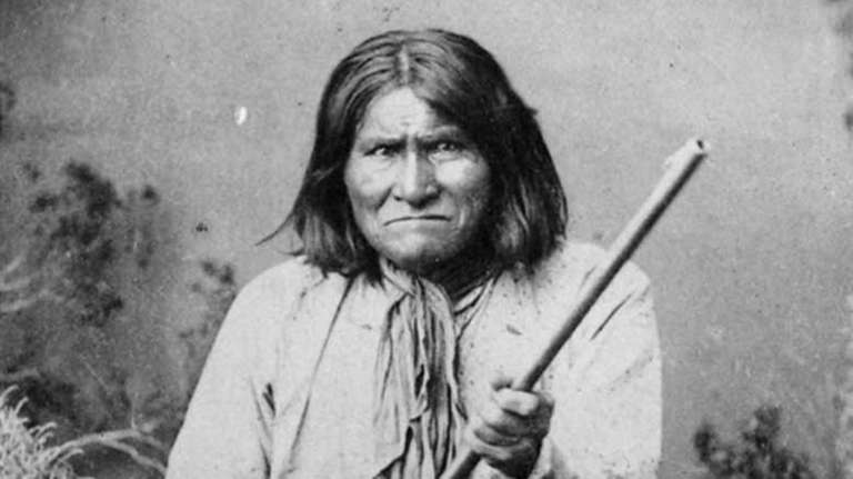 Famed Indian warrior Geronimo, a Chiricahua Apache, is