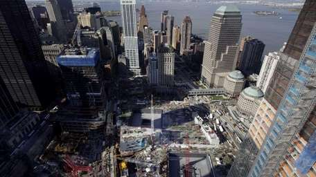 An aerial view of Ground Zero is seen
