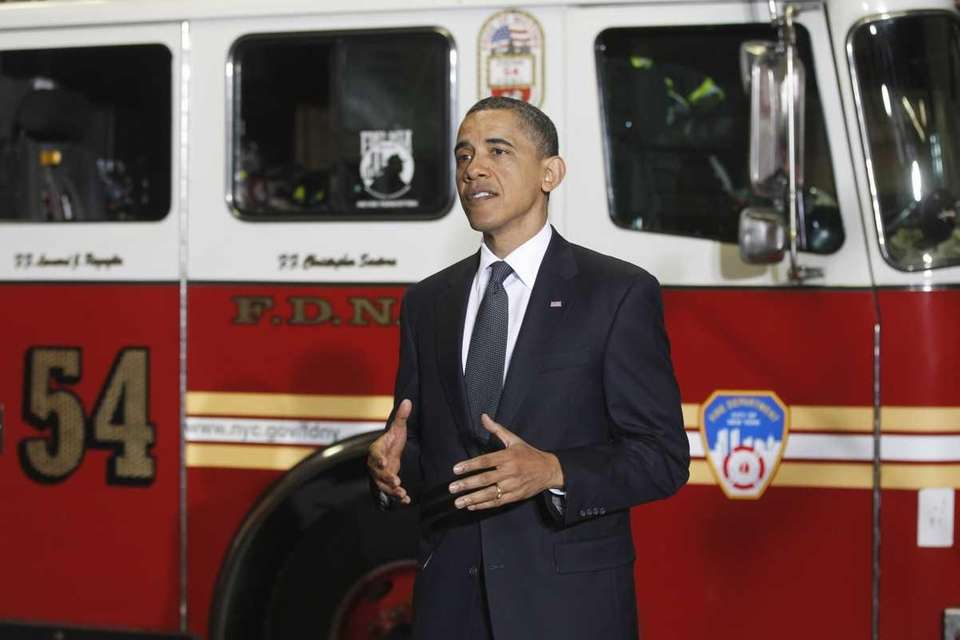 President Barack Obama speaks to firefighters and first