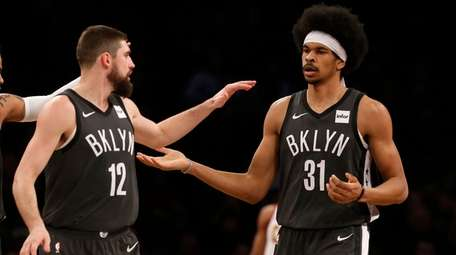 Jarrett Allen of the Nets reacts after a
