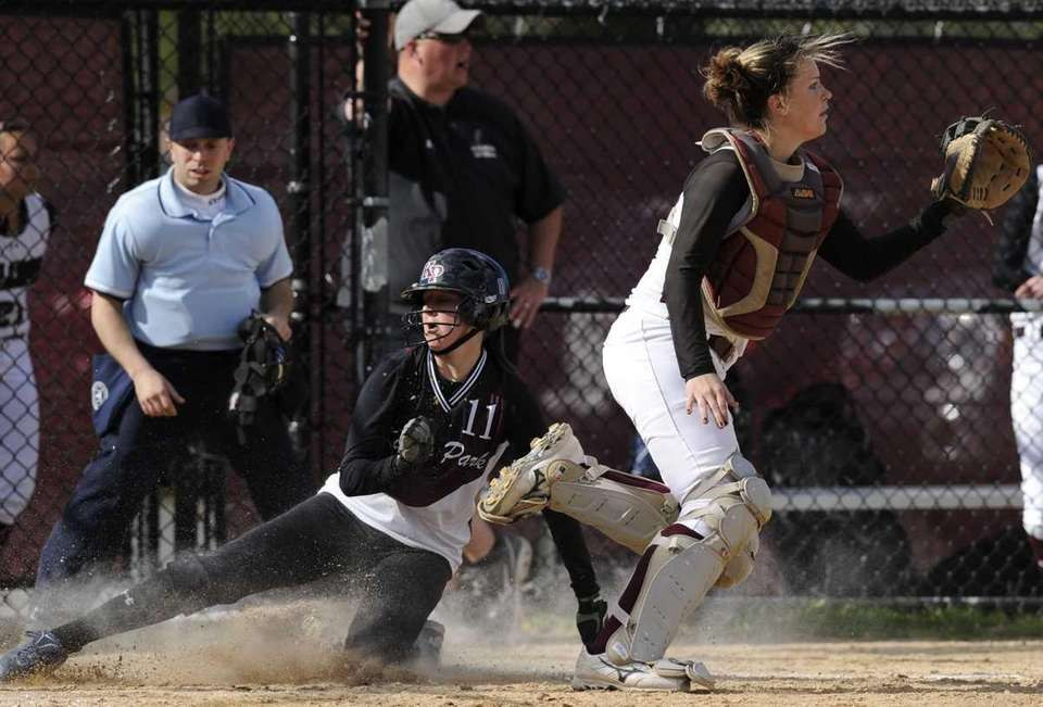 Kings Park's Cheyenne Giarraputo slides home as Deer