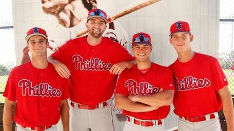 From left, Philadelphia Phillies prospects Nick Fanti, Kyle