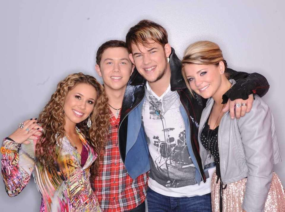 From left, Haley Reinhart, Scotty McCreery, James Durbin