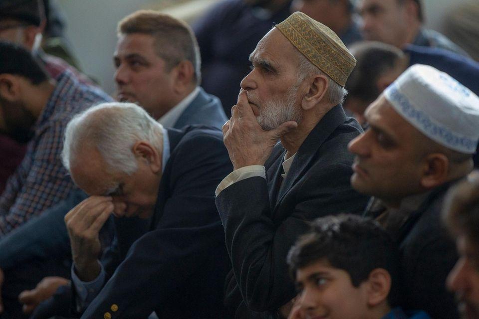 Muslim worshipers at Islamic Center of Long Island