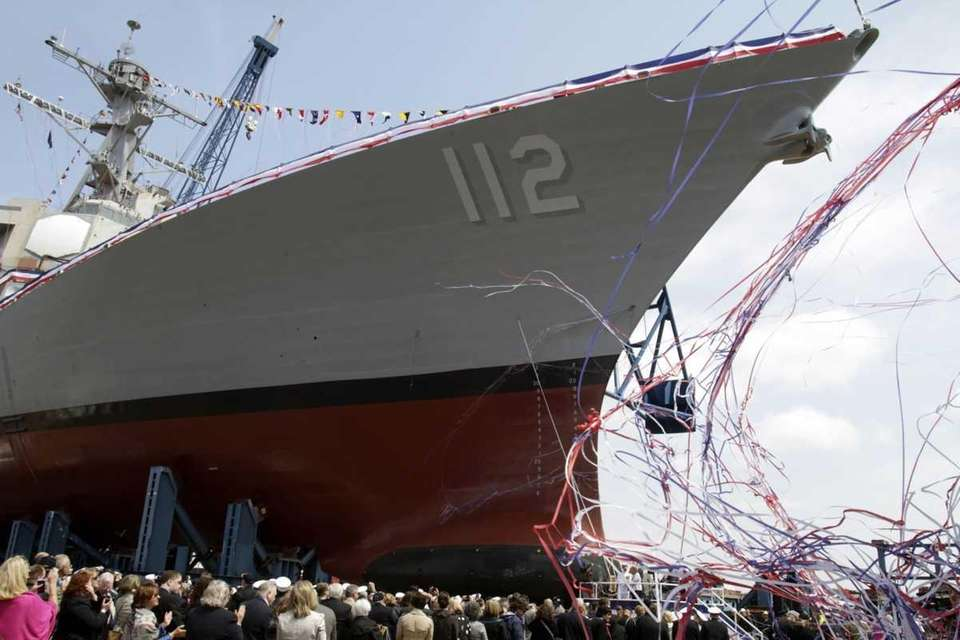 Hundreds watch during the ship christening ceremony at