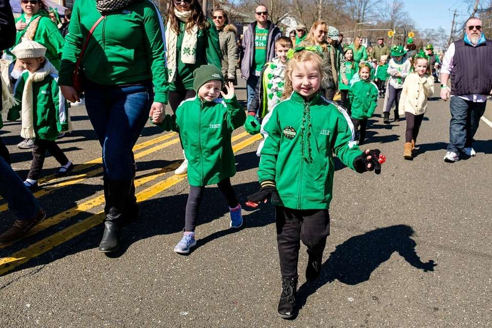 Lyla Letterio, 5, of Seaford, marches in Wantagh's