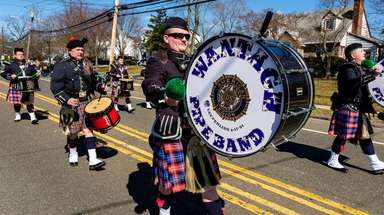 The Wantagh Pipe Band marches in Wantagh's first