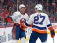 Islanders left wing Anders Lee (27) celebrates his
