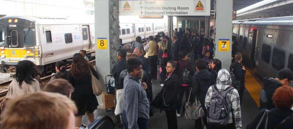 The scene at the Jamaica station during the
