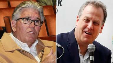 This composite image shows WFAN's Mike Francesa, left,