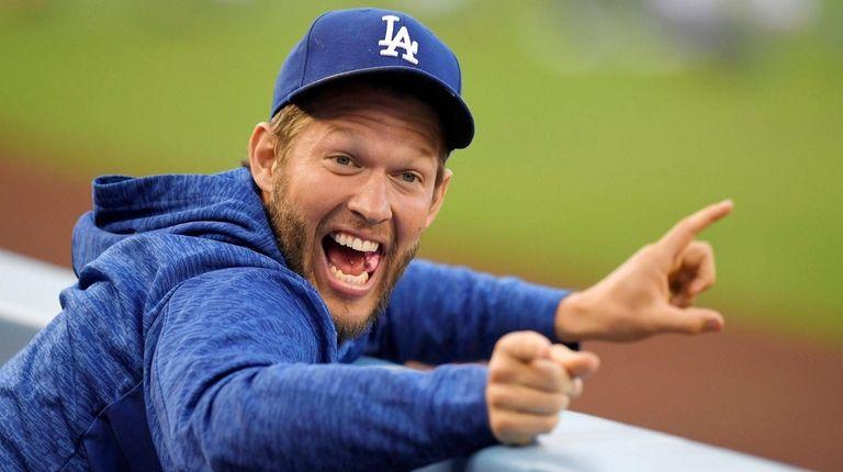 Los Angeles Dodgers pitcher Clayton Kershaw jokes around
