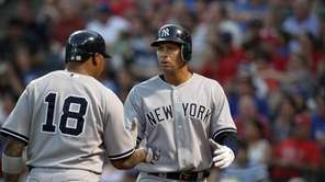 The Yankees' Alex Rodriguez, right, has been in