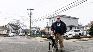 Island Park Mayor Michael McGinty with his dog