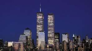 The Manhattan skyline and the Twin Towers of
