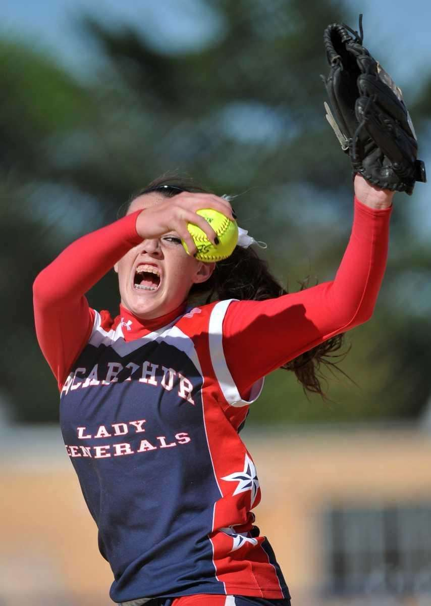 MacArthur's Kristen Brown winds up for a pitch