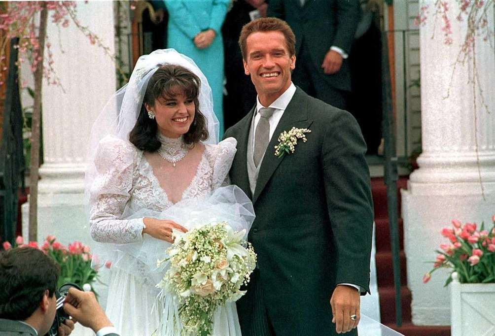 Maria Shriver and Arnold Schwarzenegger after their wedding