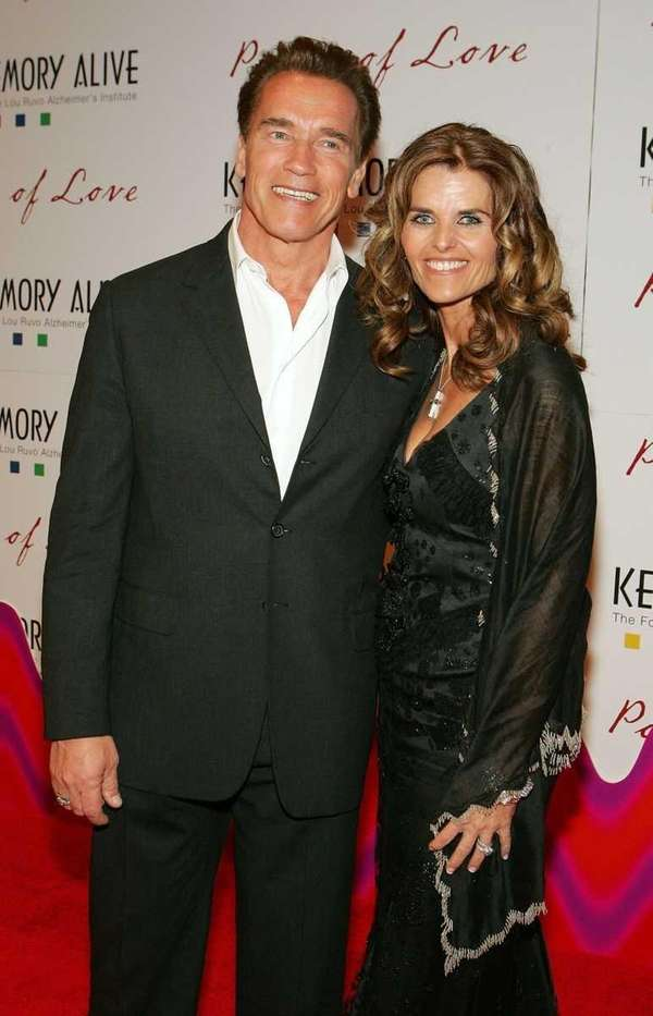 Arnold Schwarzenegger and his wife Maria Shriver arrive