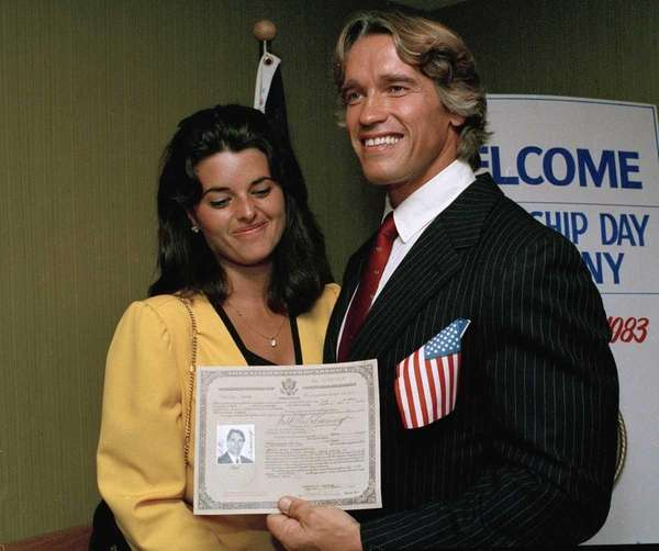 Arnold Schwarzenegger shows off his new U.S. citizenship