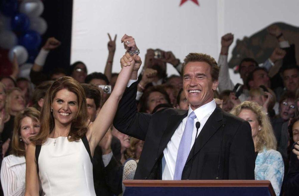 Maria Shriver and California Gov. Arnold Schwarzenegger celebrate