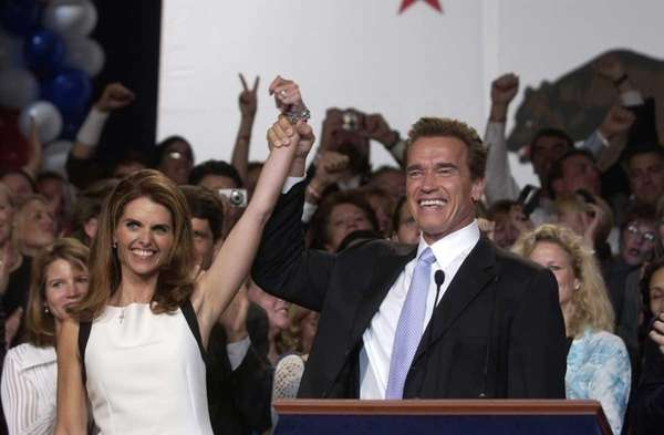 Maria Shriver and California Gov. Arnold Schwarzenegger celebrate