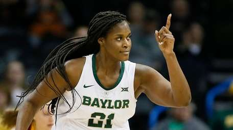 Baylor center Kalani Brown (21) reacts after scoring