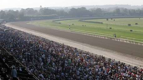 The Belmont Park racetrack during the Belmont Stakes