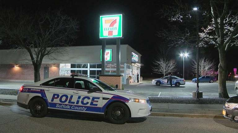 Suffolk County police at a 7-Eleven store at