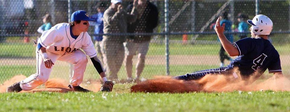 West Islip third baseman Joe Valentine #1 tags