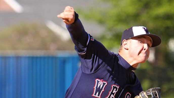 Smithtown West starting pitcher James English #14. (May