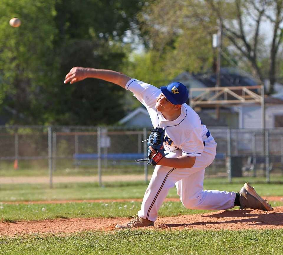 West Islip pitcher Christian Stancavage #2, delivers a