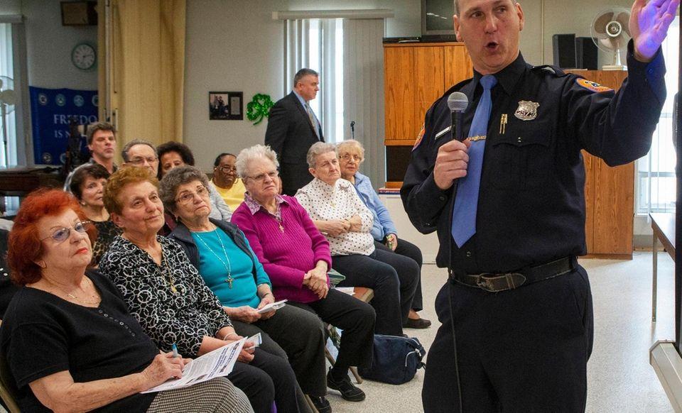 Nassau police Officer Dan Johannessen talks on Tuesday