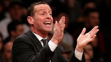 Nets head coach Kenny Atkinson reacts during the