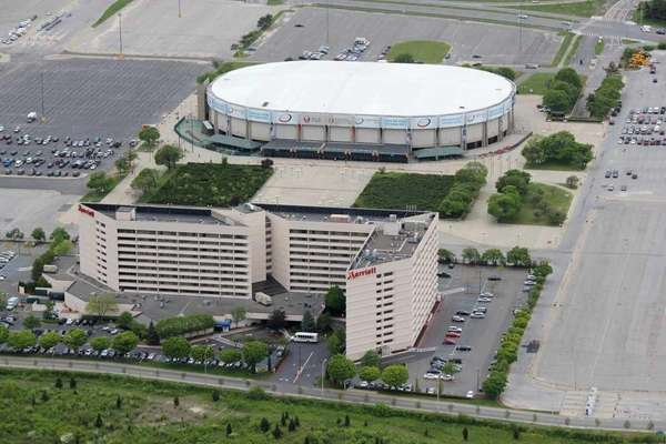 An aerial view of the Nassau Coliseum. In