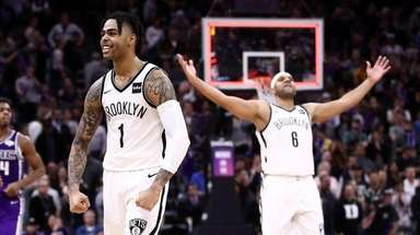 D'Angelo Russell of the Nets reacts after the