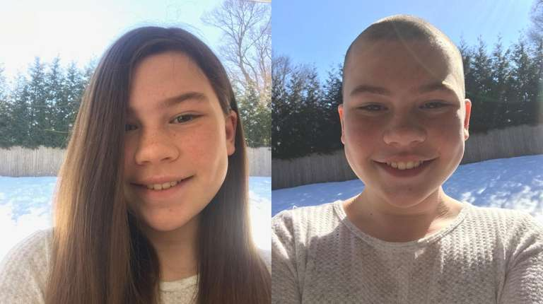 Natalie Atkins, 11, shaved her head for the