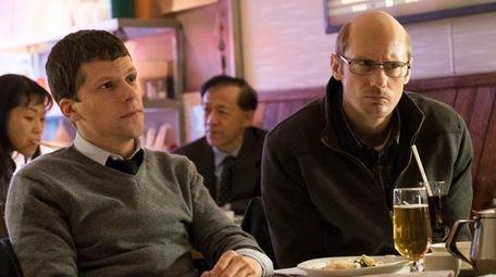 "Jesse Eisenberg, left, and Alexander Skarsgård in ""The"