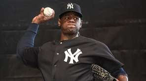Yankees pitcher Luis Severino throws a bullpen session